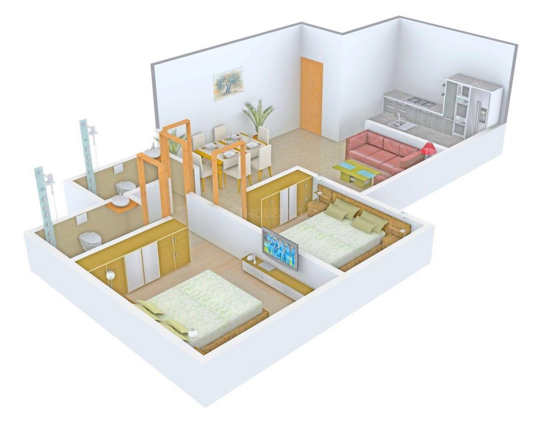Floor Plan Image of 589.0 - 1056.0 Sq.ft 2 BHK Apartment for buy in Pruthvi Tulsi Niwas