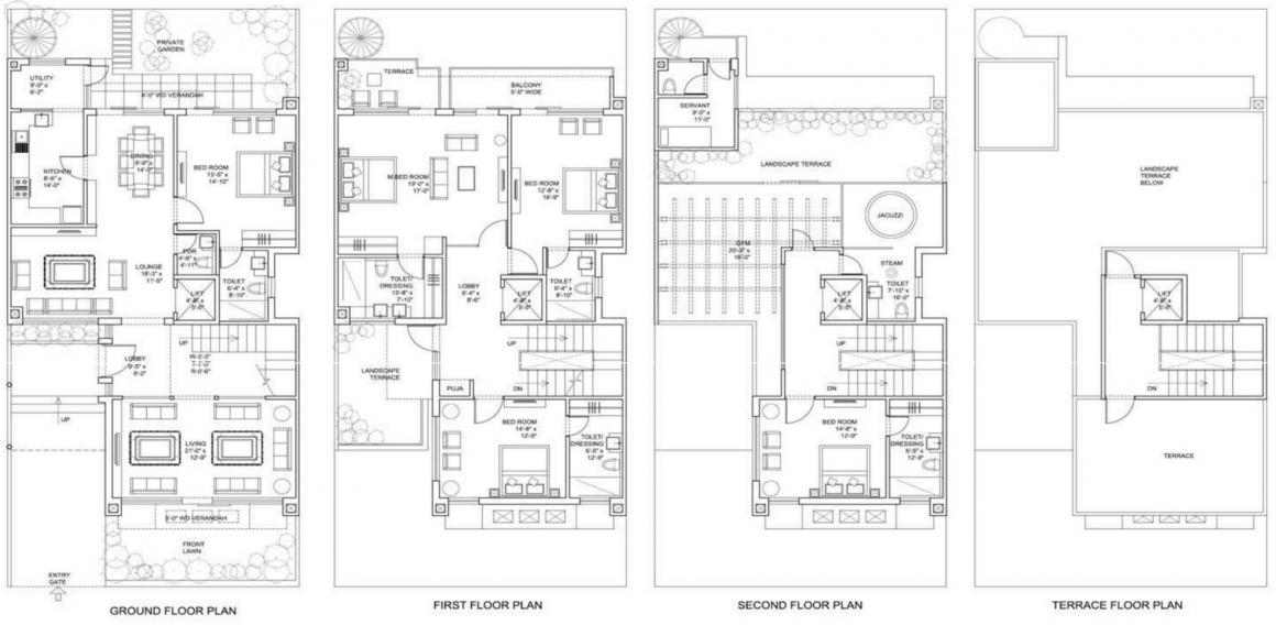 Bestech Park View Ananda Villas Floor Plan: 5 BHK Unit with Built up area of 5480 sq.ft 1