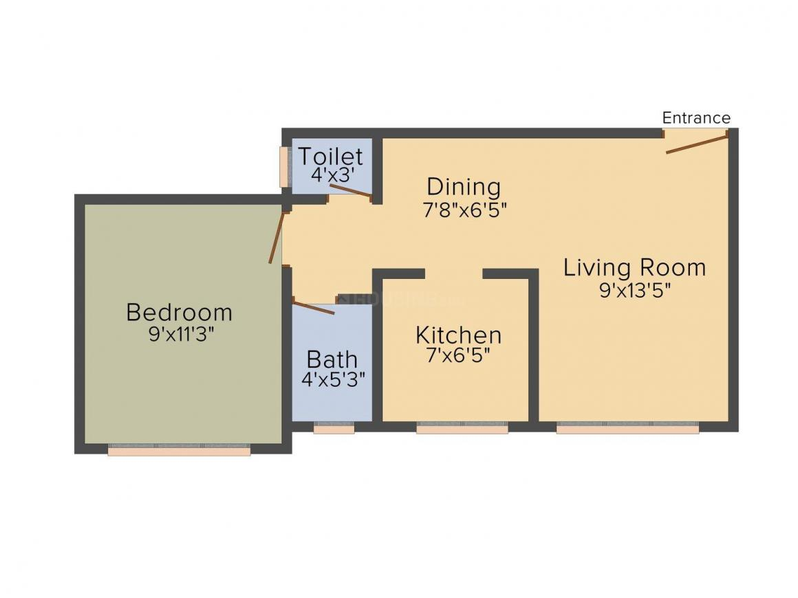 Floor Plan Image of 275.02 - 534.0 Sq.ft 1 RK Apartment for buy in Mauli Omkar