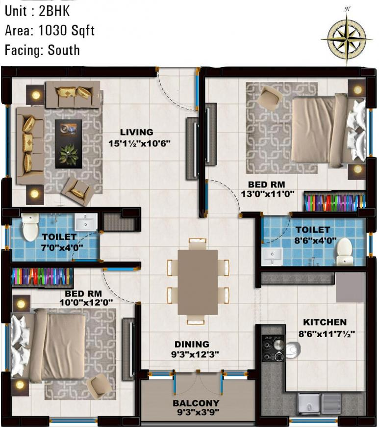 Global Tulip Floor Plan: 2 BHK Unit with Built up area of 1030 sq.ft 1