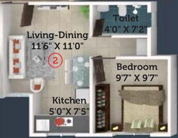 Neev Itrend Life 2 Floor Plan: 1 BHK Unit with Built up area of 322 sq.ft 1
