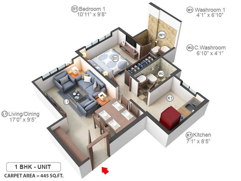 Marathon Eminence Floor Plan: 1 BHK Unit with Built up area of 445 sq.ft 1