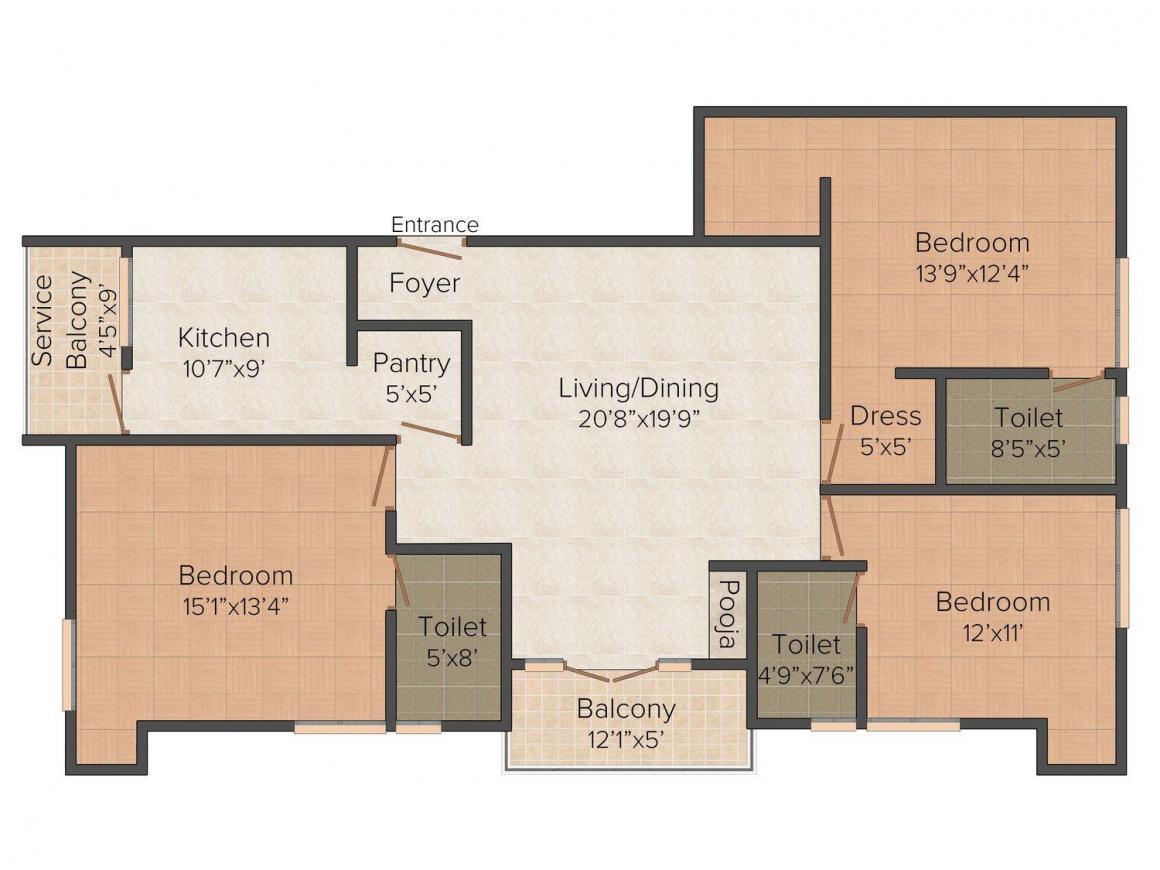 Floor Plan Image of 1383.0 - 1607.0 Sq.ft 3 BHK Apartment for buy in Sumanth Sreshta Samasta