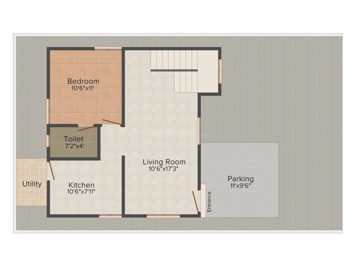 Floor Plan Image of 0 - 1150.0 Sq.ft 2 BHK Villa for buy in Green Field Nachatra Garden - Coimbatore