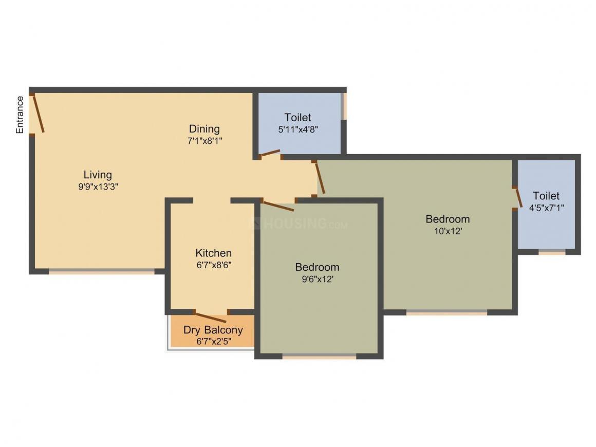 Floor Plan Image of 707.0 - 1075.0 Sq.ft 1 BHK Apartment for buy in Budget Homes