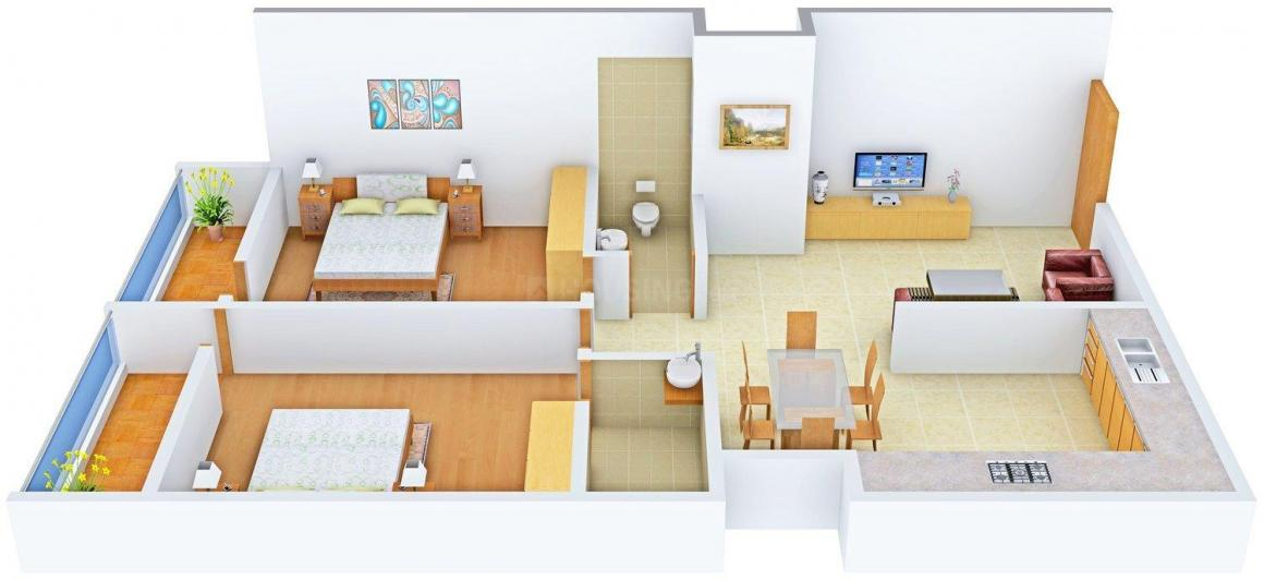 Floor Plan Image of 1060.0 - 1340.0 Sq.ft 2 BHK Apartment for buy in Radiant Shine