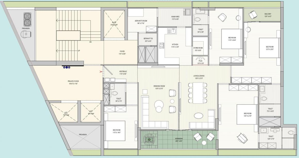 Madhav Oeuvre 2 Floor Plan: 4 BHK Unit with Built up area of 2088 sq.ft 1