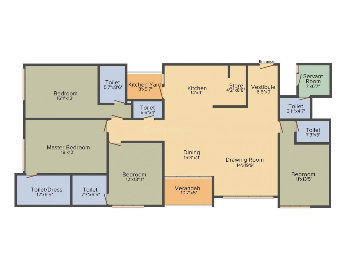 Floor Plan Image of 2233.0 - 3315.0 Sq.ft 3 BHK Apartment for buy in Goyal Riviera Elite