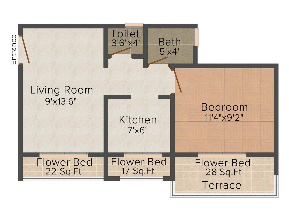 Floor Plan Image of 0 - 630.0 Sq.ft 1 BHK Apartment for buy in Dev Sai