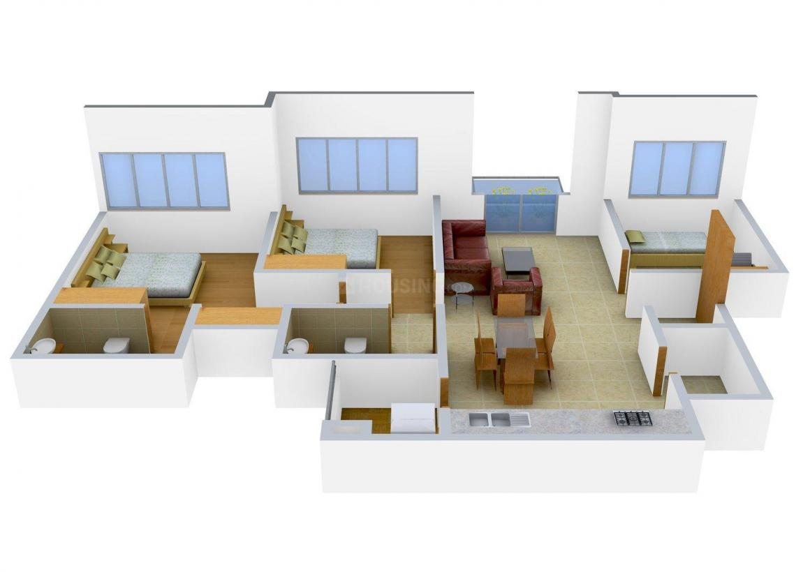 SDR Floors - 16 Floor Plan: 2 BHK Unit with Built up area of 1350 sq.ft 1