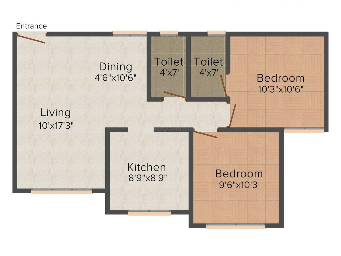 Floor Plan Image of 590.0 - 757.0 Sq.ft 2 BHK Apartment for buy in Better Parijat Towers