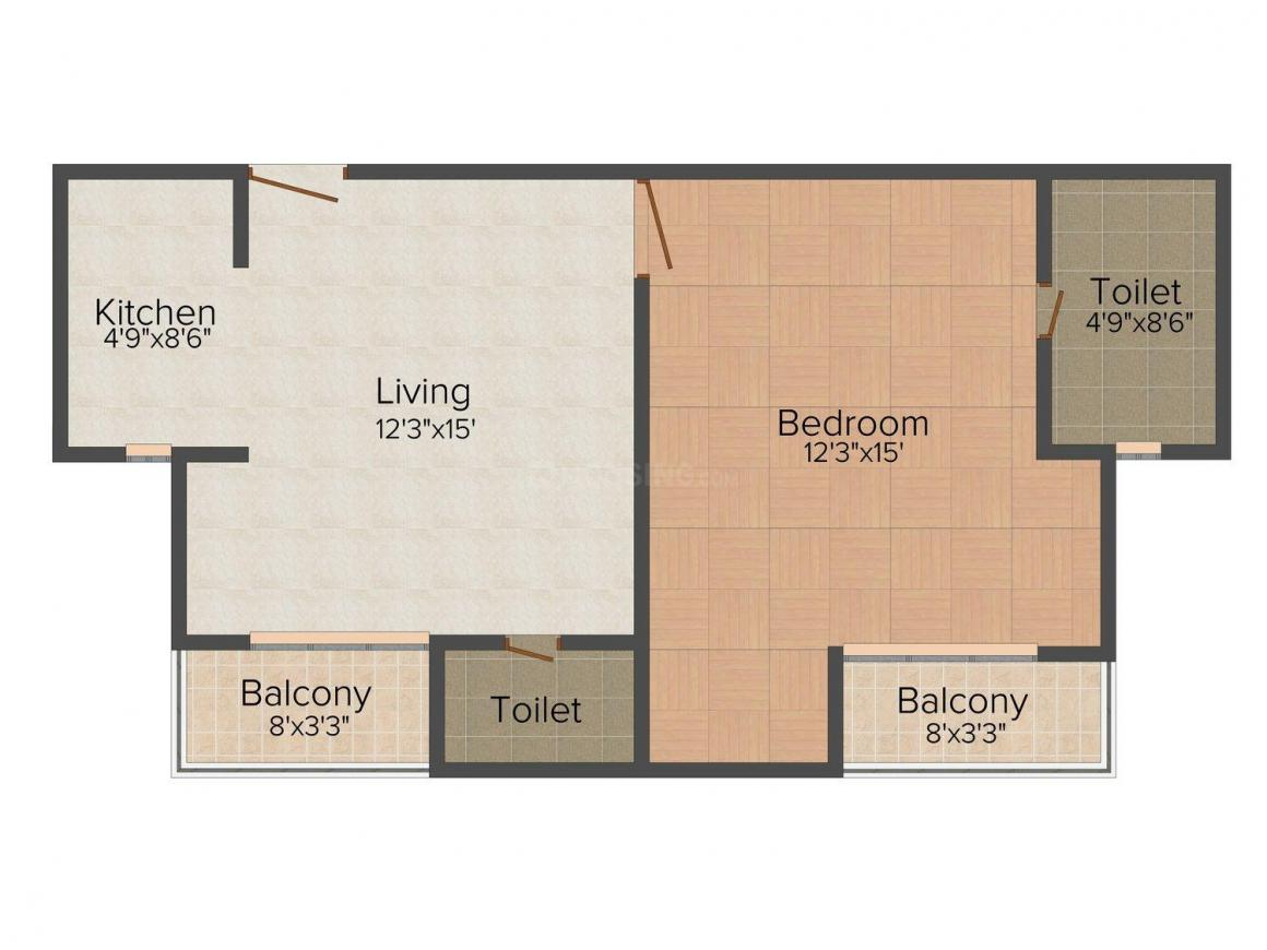 Floor Plan Image of 425 - 1080 Sq.ft 1 BHK Apartment for buy in Paras Pride