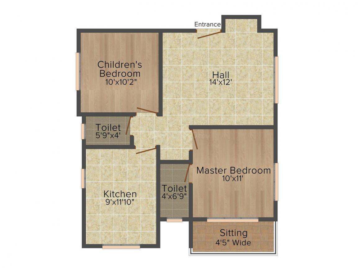 Floor Plan Image of 0 - 1000.0 Sq.ft 2 BHK Apartment for buy in Padmanabh Govindam
