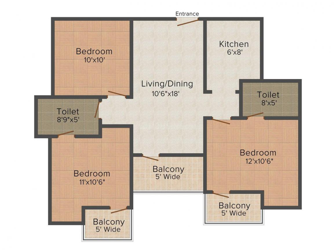 Grah Avas Vikas Green View Blossom Floor Plan: 3 BHK Unit with Built up area of 1335 sq.ft 1