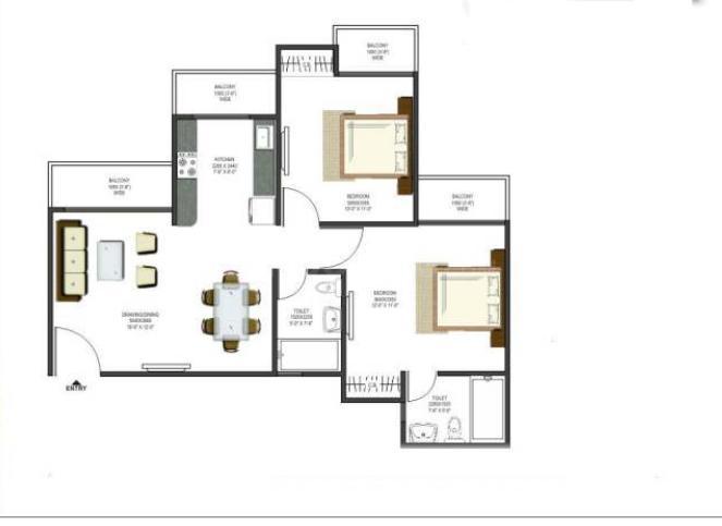 Prateek Wisteria Noida Floor Plan: 2 BHK Unit with Built up area of 773 sq.ft 1