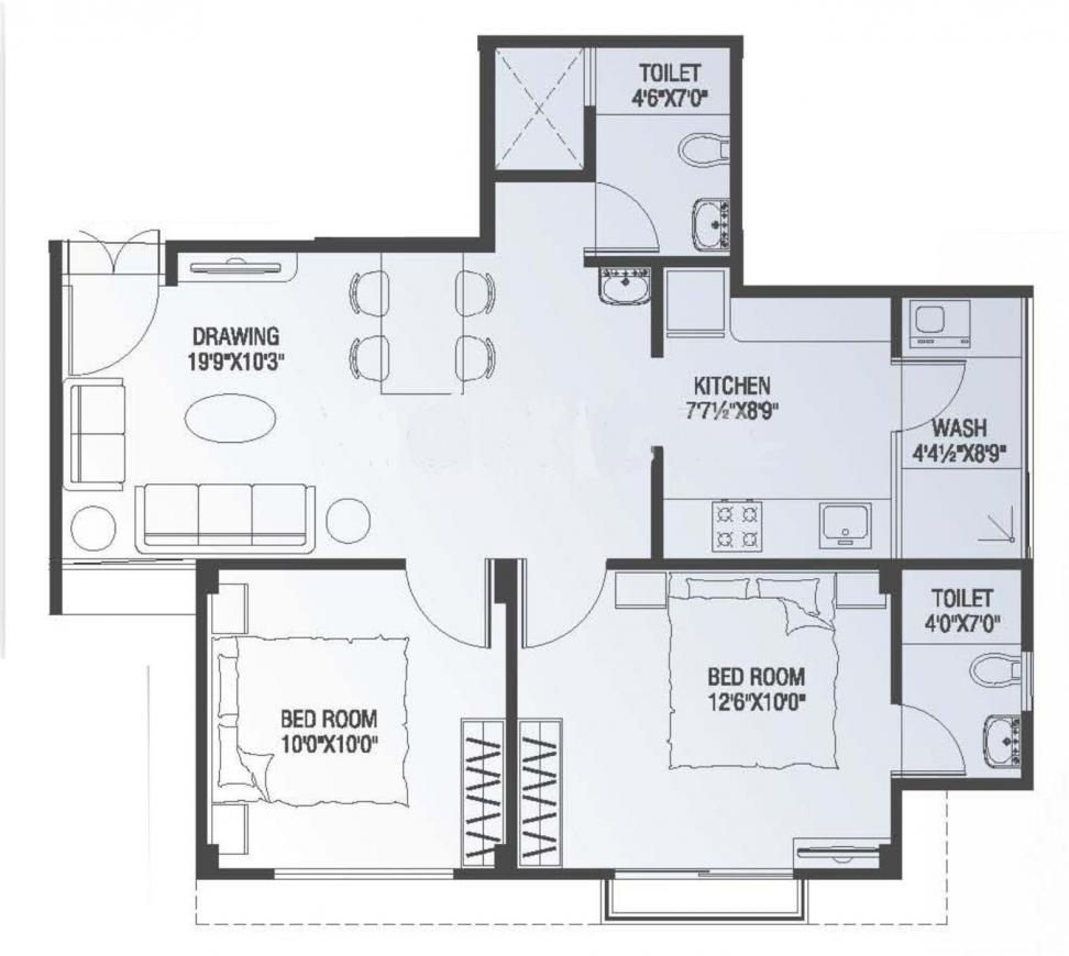 Parshwanath Metrocity Floor Plan: 2 BHK Unit with Built up area of 1071 sq.ft 1