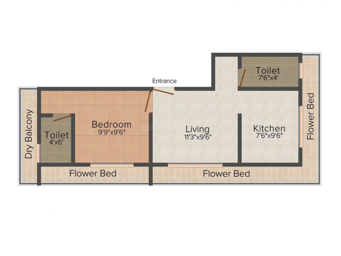 Floor Plan Image of 0 - 750.0 Sq.ft 1 BHK Apartment for buy in Kasam Shree Swami Samarth Apartment