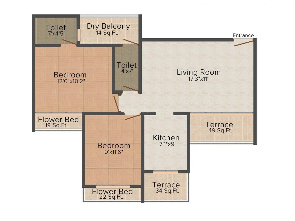 Floor Plan Image of 1065 - 1375 Sq.ft 2 BHK Apartment for buy in Uma Serita