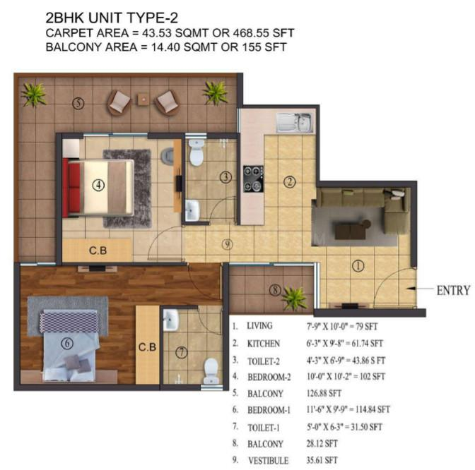 ROF Atulyas Floor Plan: 2 BHK Unit with Built up area of 624 sq.ft 1