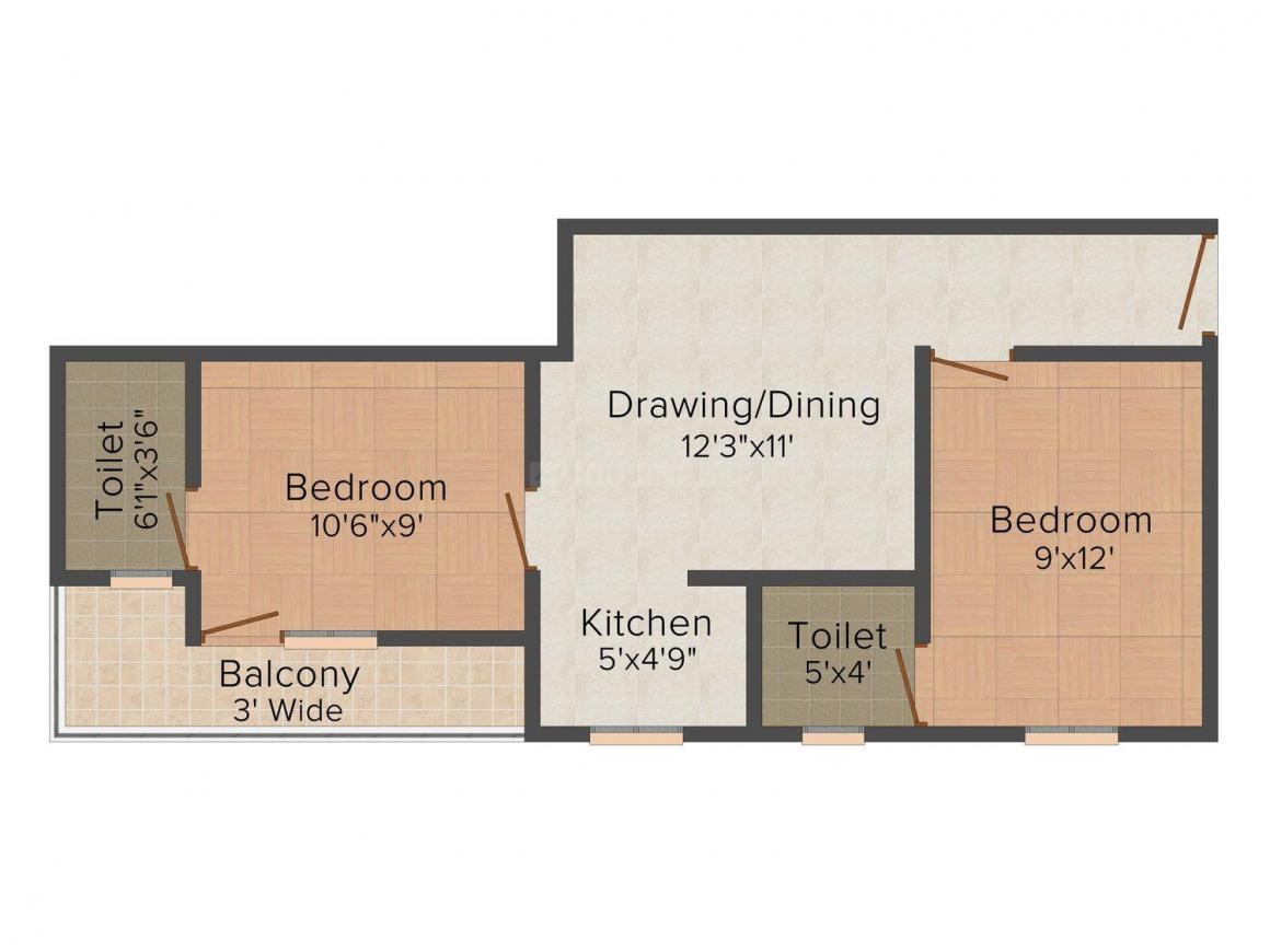 Nirwan Homes - 2 Floor Plan: 2 BHK Unit with Built up area of 700 sq.ft 1