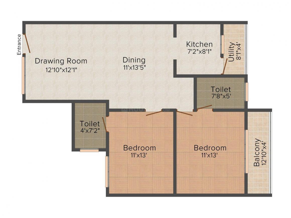 Floor Plan Image of 1125.0 - 1505.0 Sq.ft 2 BHK Apartment for buy in Star Gold Abhinava Sunrise