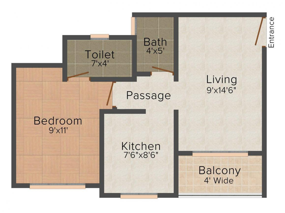 Floor Plan Image of 640.0 - 825.0 Sq.ft 1 BHK Apartment for buy in Shree Viraj Sharmila Residency