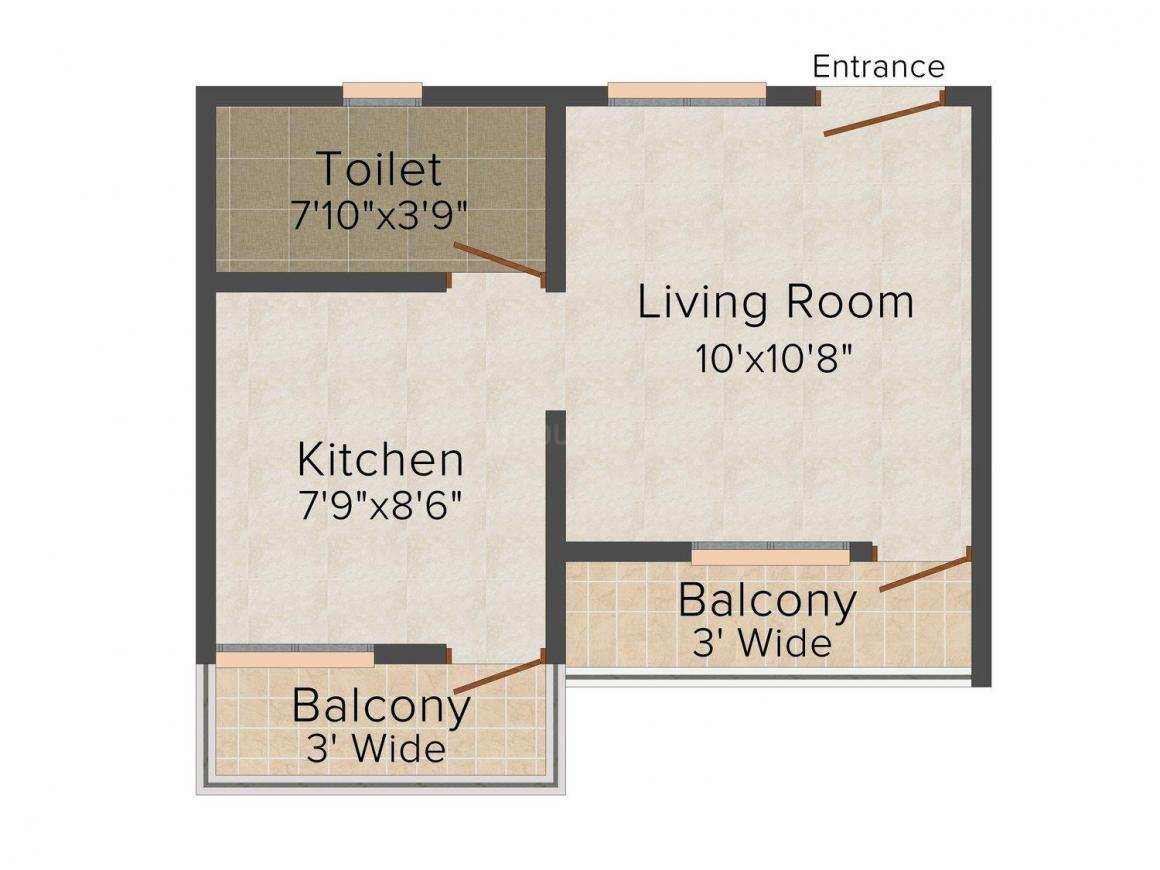 Floor Plan Image of 363 - 726 Sq.ft 1 RK Apartment for buy in Arture Olava