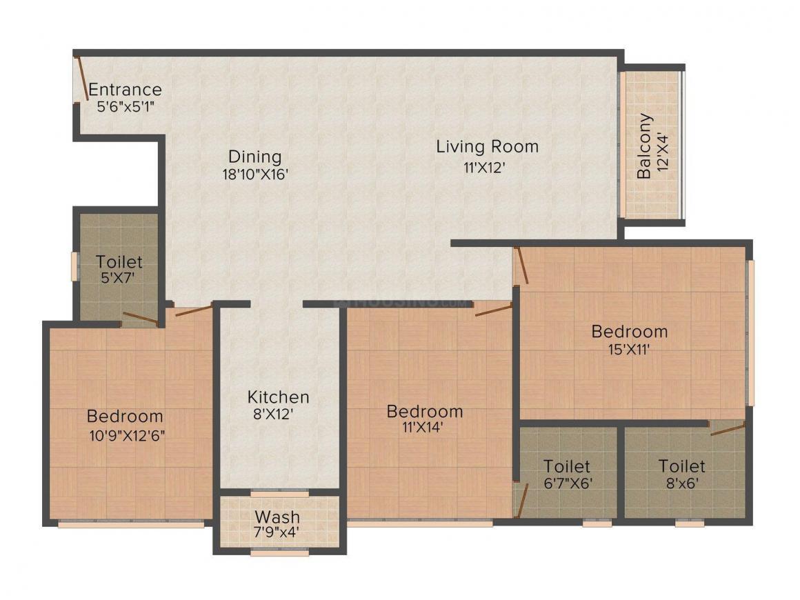 Sangath Diamond  Floor Plan: 3 BHK Unit with Built up area of 917 sq.ft 1