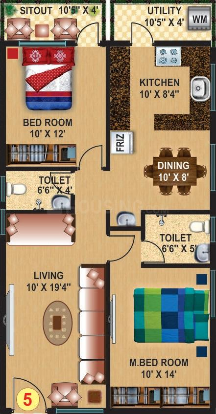 Srimitra Lifestyle Floor Plan: 2 BHK Unit with Built up area of 1100 sq.ft 1