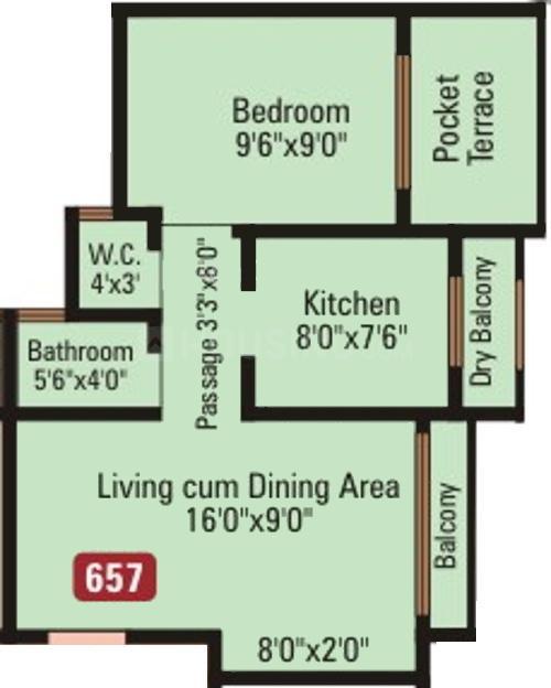 Dange Complex Floor Plan: 1 BHK Unit with Built up area of 657 sq.ft 1