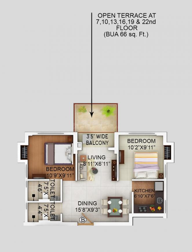 Alcove Flora Fountain Floor Plan: 2 BHK Unit with Built up area of 899 sq.ft 1