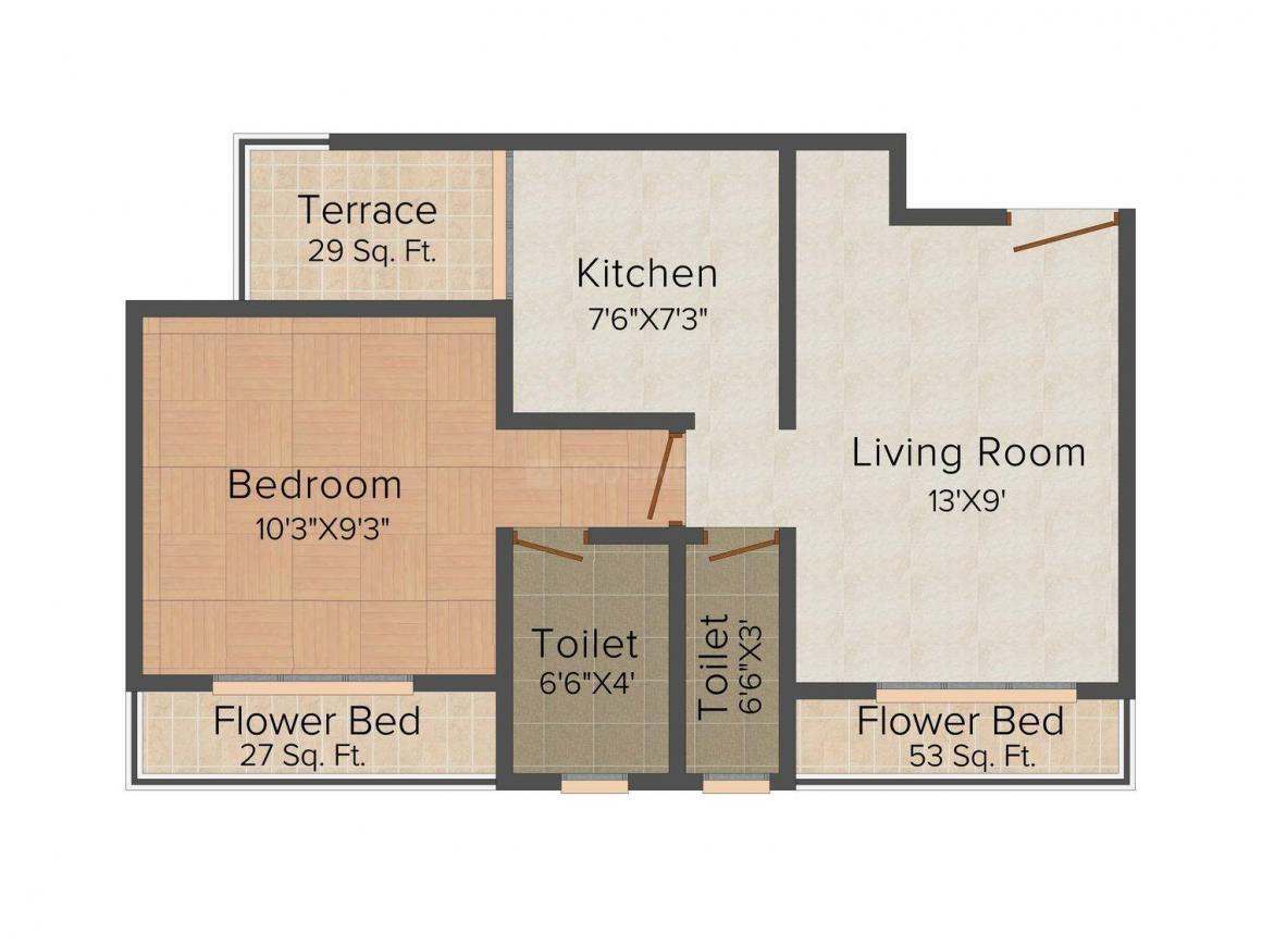 Floor Plan Image of 710.0 - 1020.0 Sq.ft 1 BHK Apartment for buy in Shree Home Harishchandra Tower