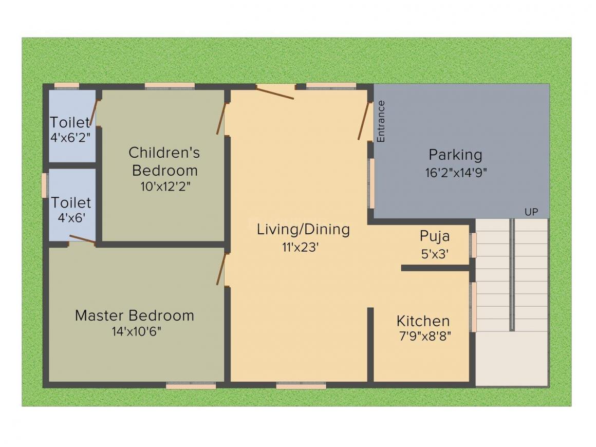 MSR Laxmi Niwas Phase II Floor Plan: 2 BHK Unit with Built up area of 1138 sq.ft 1
