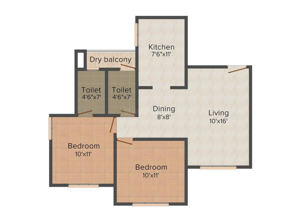 Floor Plan Image of 0 - 700.0 Sq.ft 2 BHK Apartment for buy in Giriraj Majesty