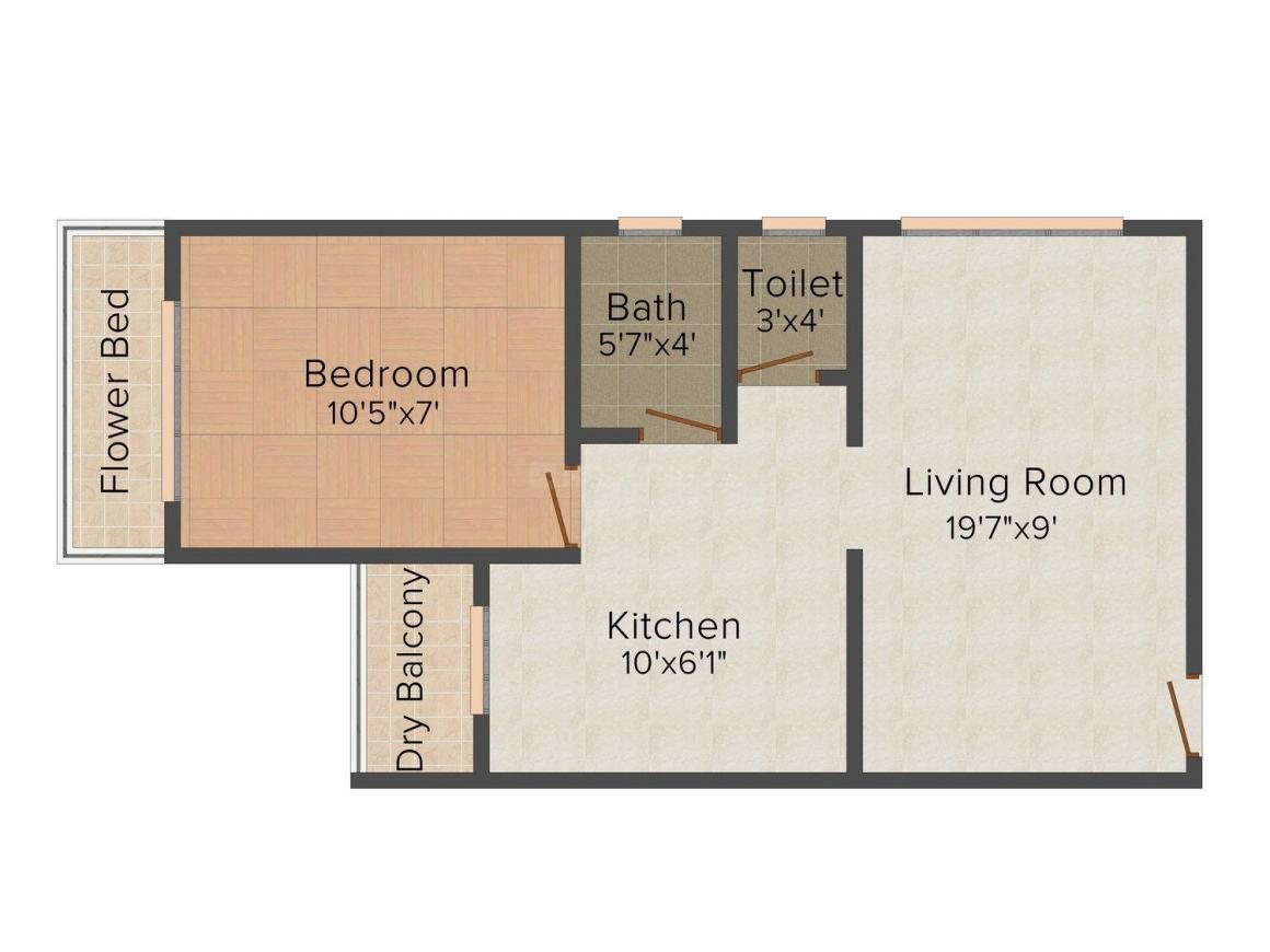Floor Plan Image of 471.0 - 665.0 Sq.ft 1 RK Apartment for buy in Rudra Unique Prestige