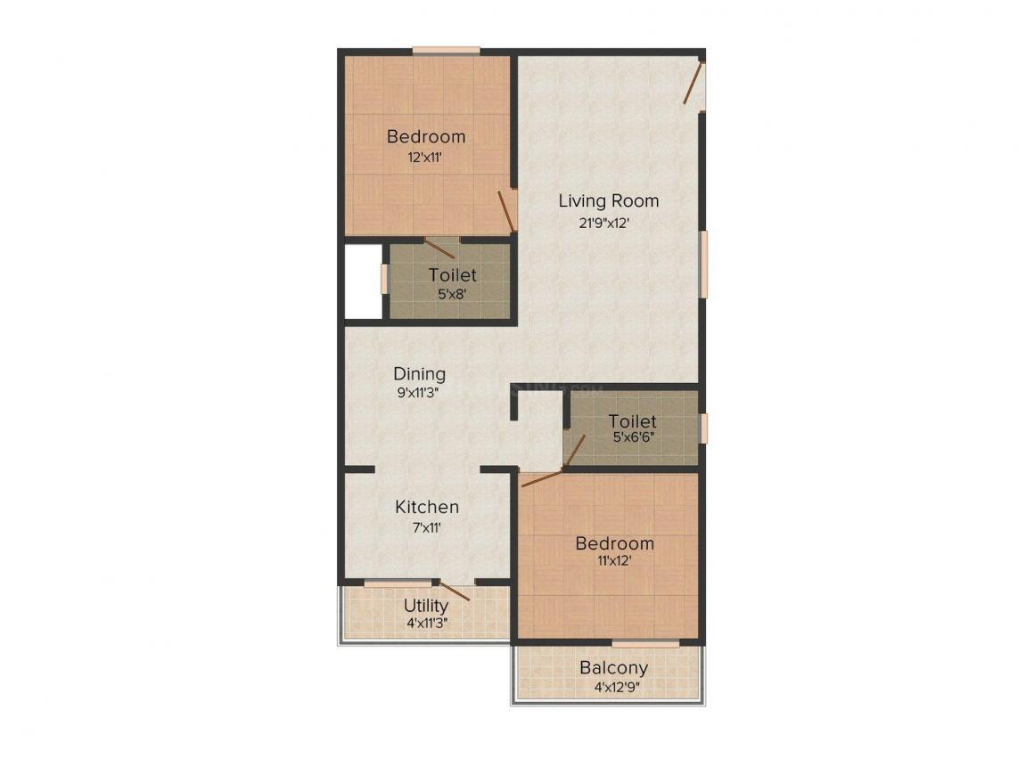 Floor Plan Image of 1246 - 1456 Sq.ft 1 BHK Apartment for buy in Pariwar Passion