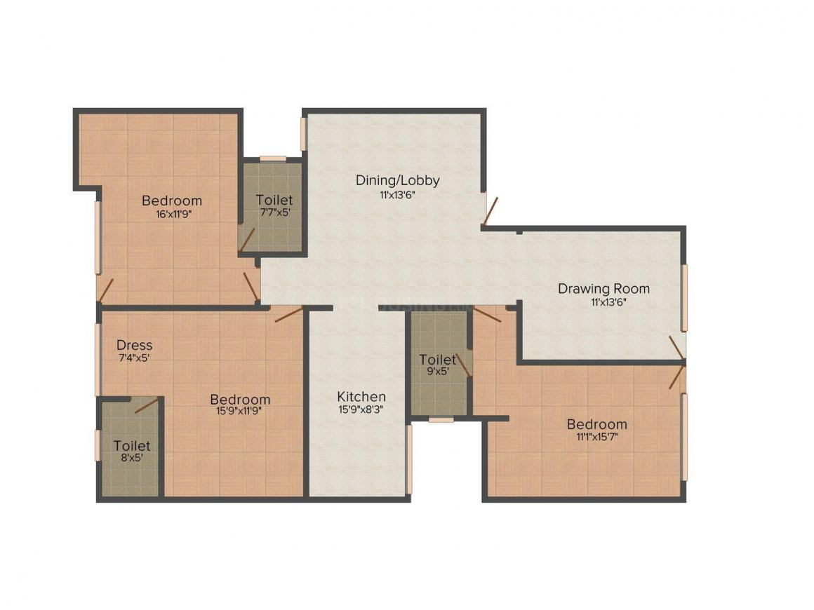 Floor Plan Image of 0 - 1700.0 Sq.ft 3 BHK Apartment for buy in G & M Floors - III