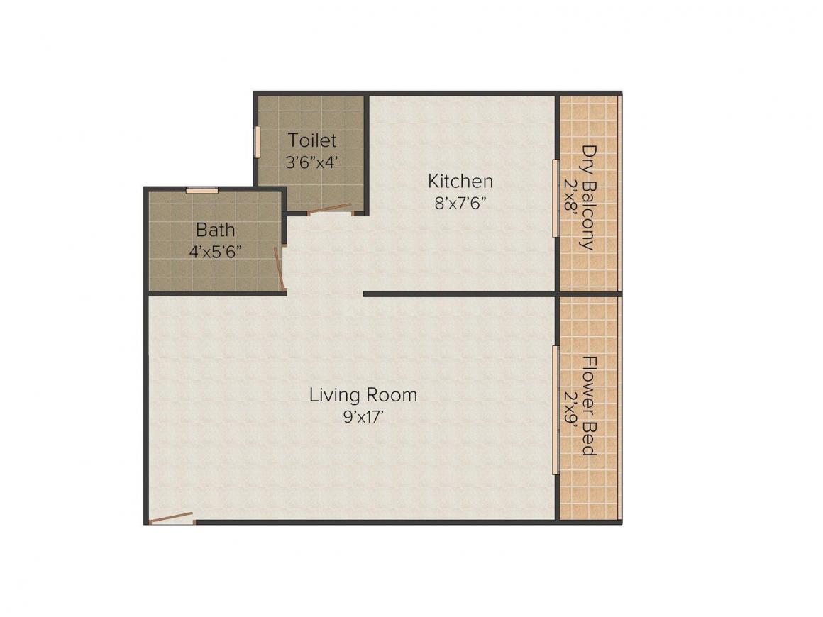 Shivani Samruddhi Garden Floor Plan: 1 BHK Unit with Built up area of 440 sq.ft 1