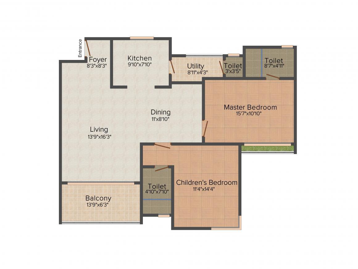 Floor Plan Image of 1031.0 - 2952.0 Sq.ft 2 BHK Apartment for buy in RMZ Galleria