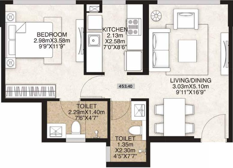 Mahindra Alcove Wing D And E Floor Plan: 1 BHK Unit with Built up area of 453 sq.ft 1