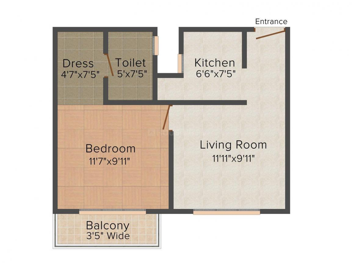 Floor Plan Image of 767 - 1245 Sq.ft 1 BHK Apartment for buy in Tulsiani Palacio Imperial White