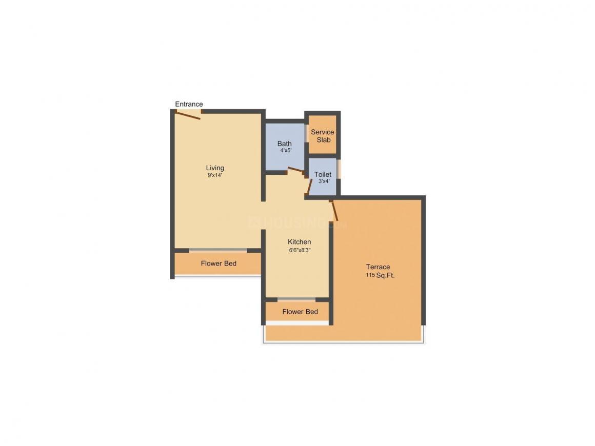Floor Plan Image of 560.0 - 765.0 Sq.ft 1 RK Apartment for buy in Radhe Krishna Harmony