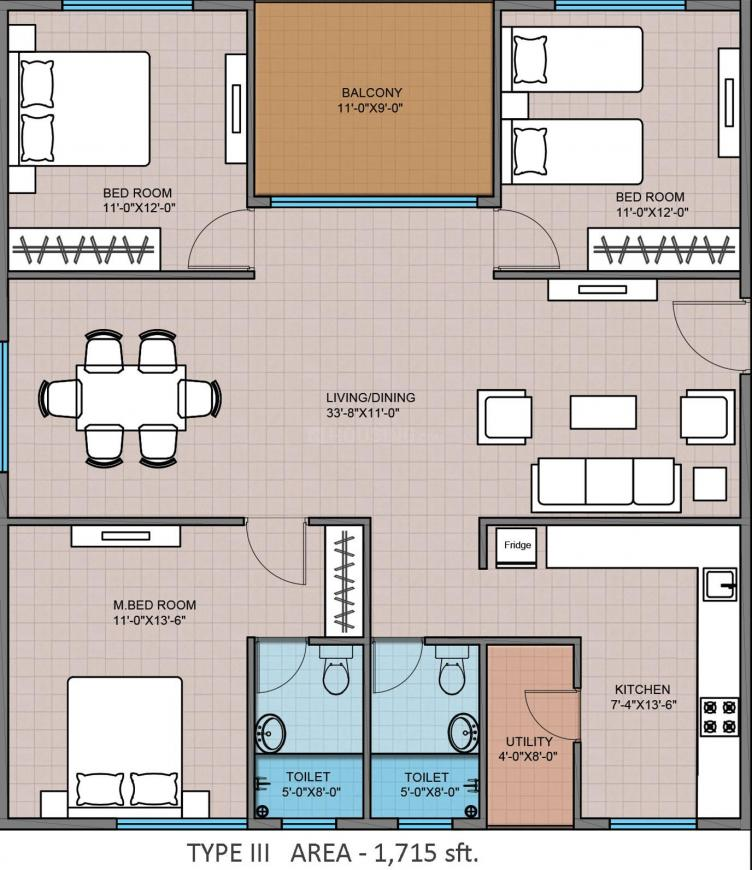 Floor Plan Image of 1219.98 - 1945.04 Sq.ft 3 BHK Apartment for buy in Modi Greenwood Heights