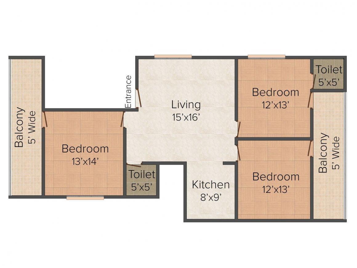 Floor Plan Image of 0 - 1350 Sq.ft 3 BHK Independent Floor for buy in  Shri Balaji Buildcon Site - Pandav Nagar