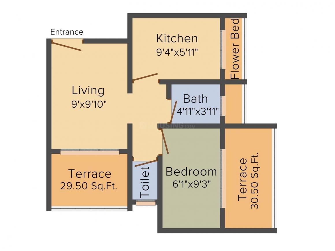 Floor Plan Image of 550.0 - 705.0 Sq.ft 1 RK Apartment for buy in Meet Shree Govardhan Arcade