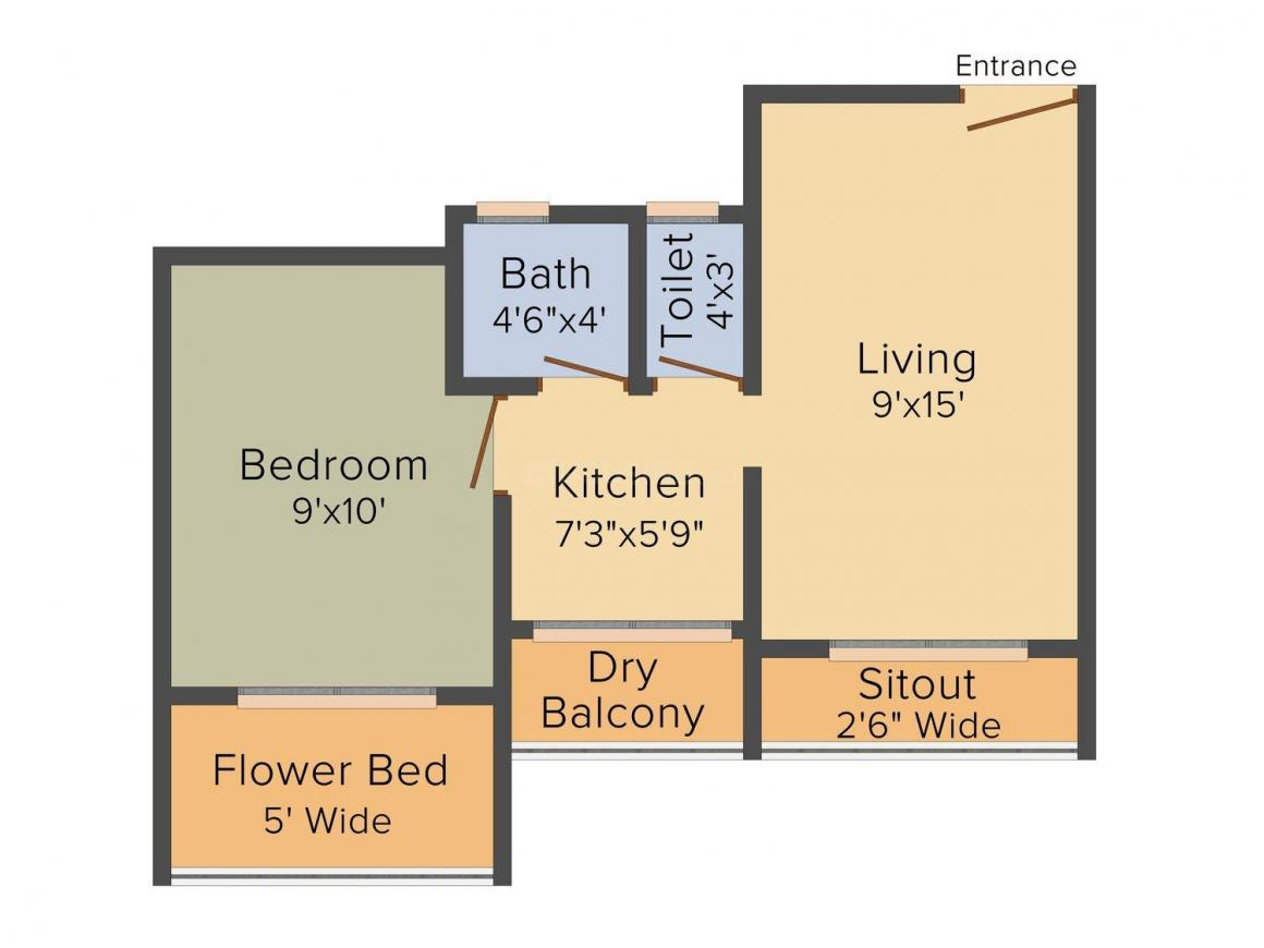 Floor Plan Image of 0 - 580.0 Sq.ft 1 BHK Apartment for buy in HMK Shree Krishna Heights