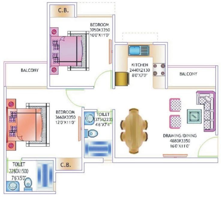 Amrapali Castle Floor Plan: 2 BHK Unit with Built up area of 925 sq.ft 1