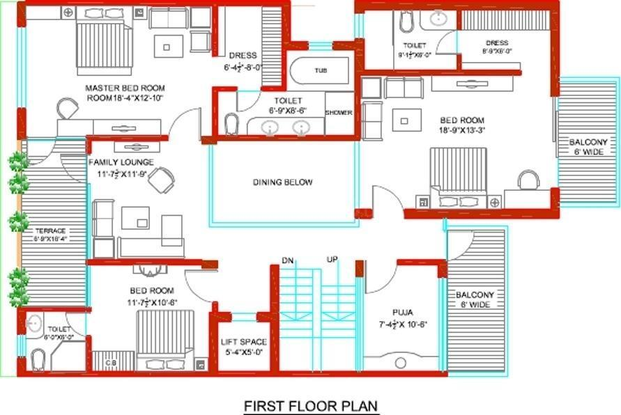 Tulip Ivory Villas Floor Plan: 6 BHK Unit with Built up area of 5000 sq.ft 3
