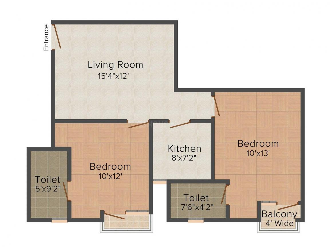 Earthcon Sir Syed Apartment Floor Plan: 2 BHK Unit with Built up area of 930 sq.ft 1