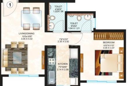 Sheth Creators Vasant Oasis Acacia Bldg 12 Floor Plan: 1 BHK Unit with Built up area of 435 sq.ft 1